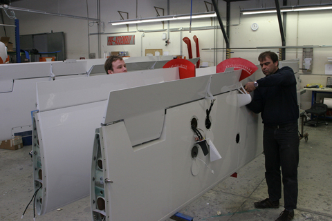 Inner (I think) wing elements, with flaps being fitted and calibrated.