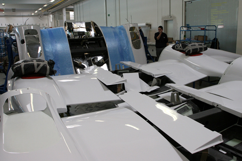 A jigsaw puzzle. Wingroots, engine bays and control surfaces are shown here, painted and ready for reassembly onto the aircraft.