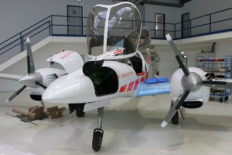 Nearing completion. This DA-42MPP - Multi-Purpose Platform - will eventually join the Diamond Airborne Sensing fleet also stationed at Wiener Neustadt