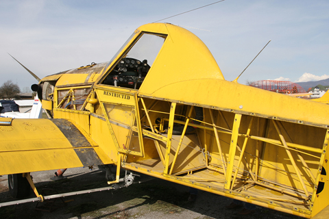 """Rear quarterview showing some of the internal structure. Like most light aircraft, the AT series uses a frame construction, much like the one you see on construction cranes. The frame - which absorbs all inflight loads and holds the structure together - is covered by panels to make the whole thing aerodynamic. These """"panels"""" can be made from a wide range of materials, wood and fabric in the olden days and aluminium today - though composites and glass and carbon fibre are becoming increasingly common"""