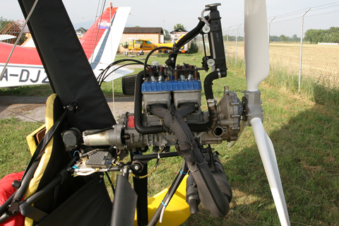 The power comes from the 64 HP (a lot!) Rotax 582. Interestingly for an aircraft engine, the 582 is a two-cylinder, two-stroke water-cooled engine - going pretty much against every conventional piston engine design guideline :)