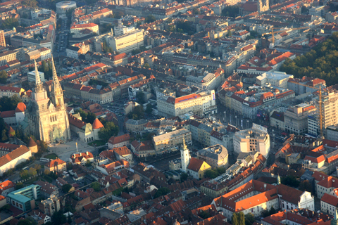 An architectural detail of the city centre. The main city square - Trg Bana Jelačića - can be seen to the right of shot, while the Cathedral - one of the city's landmarks - dominates the shot to the left