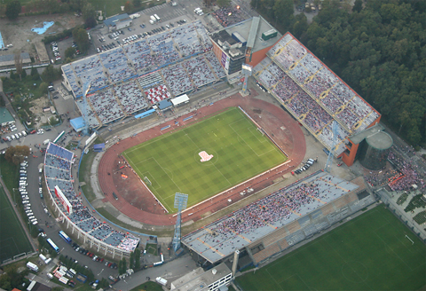 The main city stadium at Maksimir park. The main venue for large and/or important football matches and numerous concerts, it is seen here about 10 minutes before a Croatia-England match on October 11th, 2006