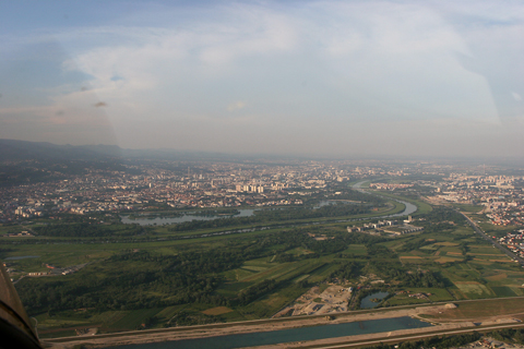 Another wide view from a climb to altitude. The Jarun lake - a major sports centre and the favorite exercise ground for the citizens of town - an be seen not far away