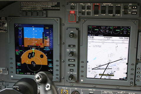 Closeup of the pilot's side, showing the PFD (Primary Flight Display) and MFD (Multi-Function Display), showing an airport chart of Le Bourget