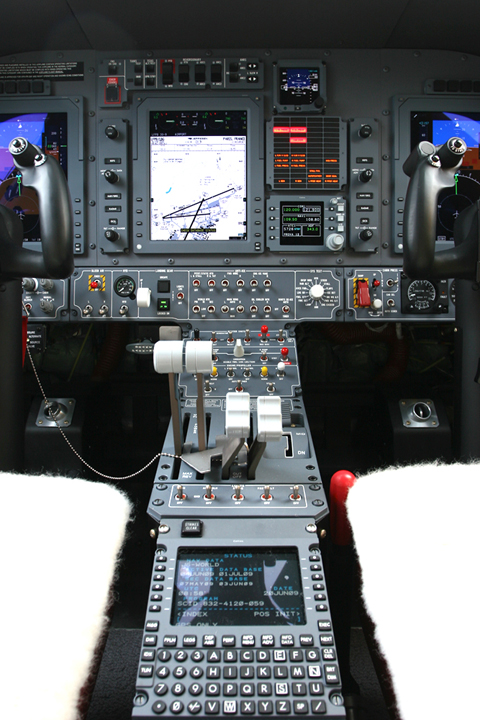 Pedestal view. An FMS (Flight Management System) is also included, giving this amazing prop some serious equipment punch