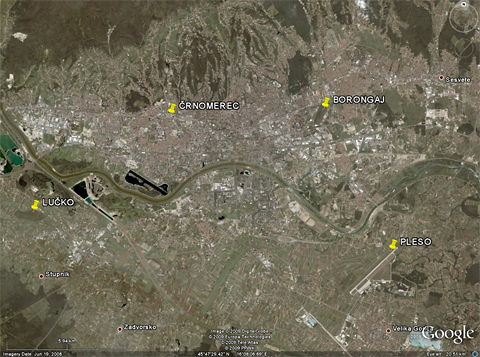 """A Google Earth image of modern Zagreb, with Borongaj - and the other three Zagreb aerodromes - """"pinned down"""" (the position of Črnomerec being approximate). Six kilometers away from the city center, Borongaj was once well outside of town..."""