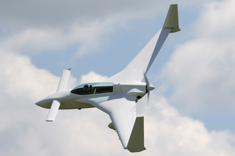 """Rutan's """"pocket rocket"""" LongEZ still looks futuristic today, despite being almost a 30-year old design. This model, built by an airline pilot for Croatia Airlines, is the most powerful, 160 HP version."""