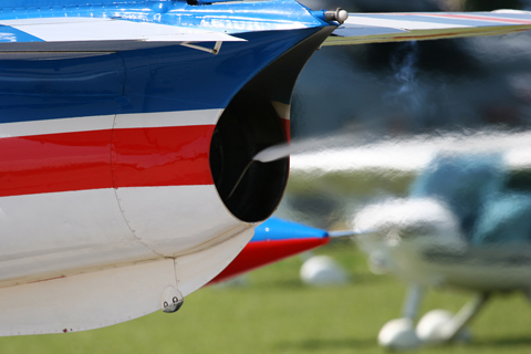 Closeup of the smoke system. As with most such systems, the smoke is generated by injecting Diesel or paraffin into the exhaust (which can also be tinted to change its color). On the G-2, the exhaust comes from a licence-built Rolls-Royce Viper Mk.22 turbojet, developing 11.12 kN of thrust
