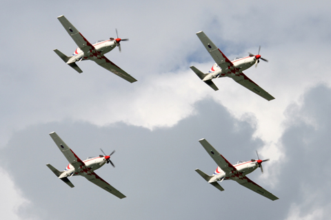 """Despite flying """"regular"""" PC-9Ms used for flight training when the team's not flying, the Krila Oluje have quickly risen to become one of the regions best teams. If only the AF would stick a couple of smoke generators on them..."""