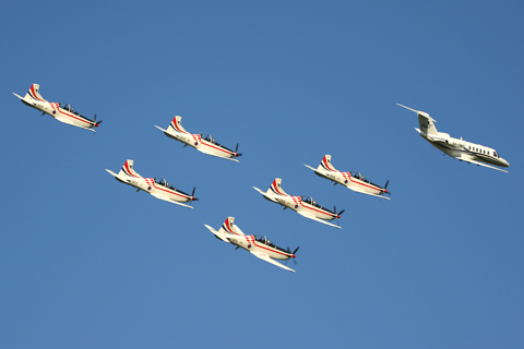 A special treat at the end of day two - a formation display by the previously pictured CitationJet and the Krila Oluje
