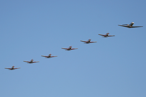 Mother CitationJet leading her flock of PC-9s :)
