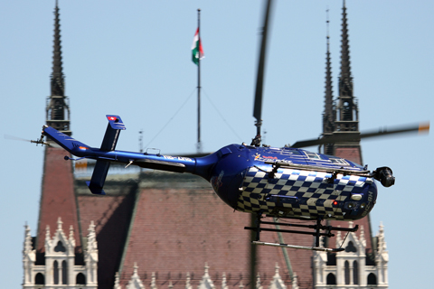 Possibly having more fun than the race participants themselves was this media Bo.105CBS. Operated by Red Bull but owned by Skymedia from Switzerland, this helicopter - equipped with a Cineflex V14 HD turret cam - was tasked with providing real-time upclose video footage of the race