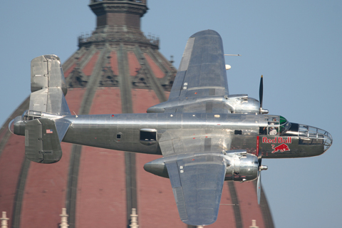 """And what Red Bull event would be complete without a flyby of RB's """"dreamfleet"""" from Hangar 7?"""