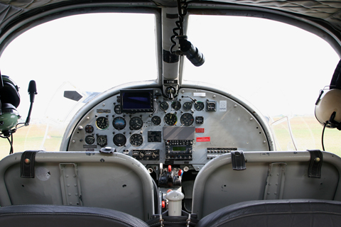A view from the back seat. D-EFSC was configured in a four-seat club arrangement which, in combination with the extensively glazed rear doors, would make this a fantastic aircraft for panoramic and photographic flights (indeed, the pilots told me that you can actually lift the floor covers and install a downward facing camera)