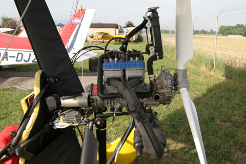 The tinyiest of the tiny, the two-stroke Rotax 582 developing 64 HP and powering the previously reviewed Apollo Racer GT microlight