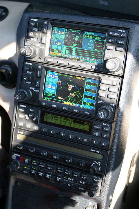 Unlike the G1000, the Entegra does not have comms and nav radios integrated into the system. Hence, two Garmin GNS 430 units provide the interface with the system, though which you can also load the flight plan to be followed using GPS. Below it is a juicy Mode S transponder, with an autopilot and audio selector panel situated below