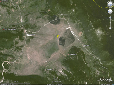 """A Google Earth view of Bijelo polje. The location of the runway is """"pinned down"""", though nothing will be visible in this dated shot :)"""