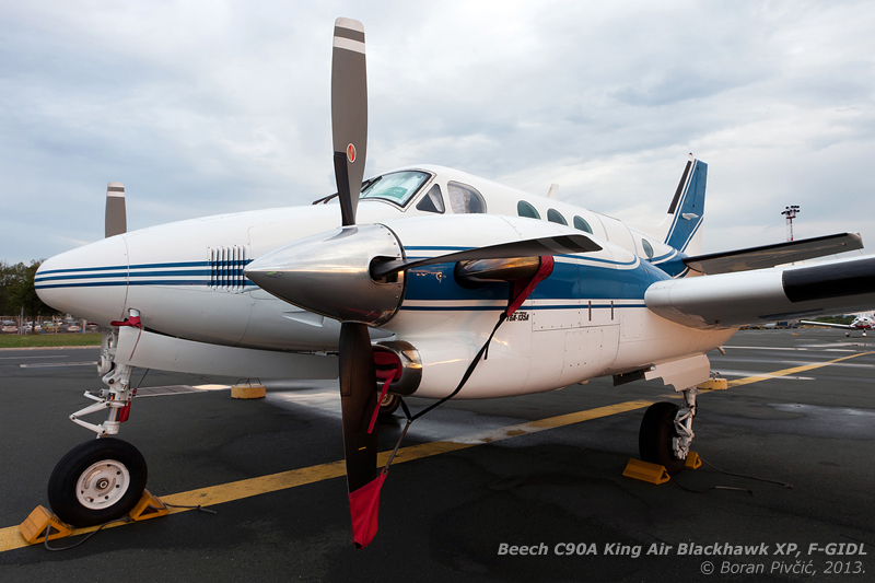 "A machine that's as close as it can be to the ideal business turboprop . The only fully certified (and Beech-endorsed) King Air modification, the Blackhawk series conversion visually differ little from the standard models - but ""under the hood"", things are quite different. The top of the line choice for the model 90, the XP135A conversion includes the replacement of the standard 550 HP PT6A-21 engines with more modern 750 HP PT6A-135As. In addition to the drastically increased torque - which does wonders in the climb - the new engines predictably also increase cruise speed, boosting it from 403 to 503 km/h for the C90A ."