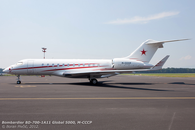 Despite the Isle of Man registration prefix, it is not all that hard to figure out the origin of this imposing Global parked on Ljubljana Airport's GA Apron . Just when a man thinks that he'd seen his fair share of bizjet paint schemes, the Russians go and surprise him :)).