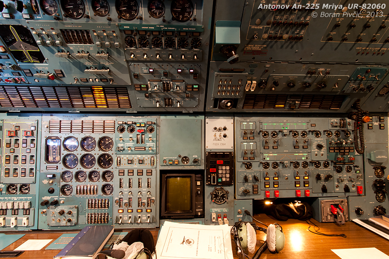 The awe-inducing mass of switches, dials and lights that forms the office of the two flight engineers. Even though many of the smaller An-124s - which share the same cockpit - have received some form of digital avionics upgrade over the years, the Mriya is still as (wonderfully) low-tech as it was when it first flew...
