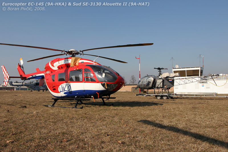 Quite the contrast as HKA and HAT share a fine winter day at Lučko. Sporting the company's distinctive paint scheme, HKA was kitted out with a full HEMS interior, as opposed to the more spartan HKB