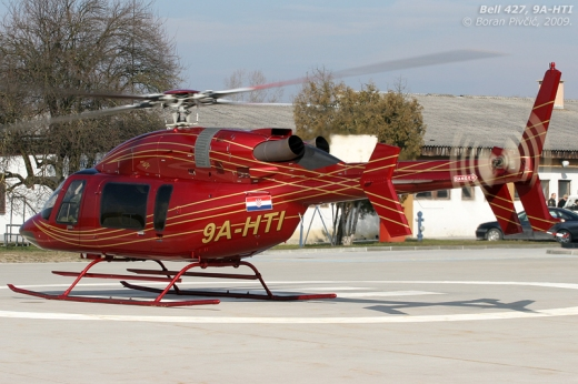 One of the more pleasing shapes of the light helicopter world (and one of the few things that actually worked on the 427). While it is generally similar to the 429, there are a number of obvious clues that set them apart - notably the 429's clamshell loading doors under the tail, a first for any Bell design.