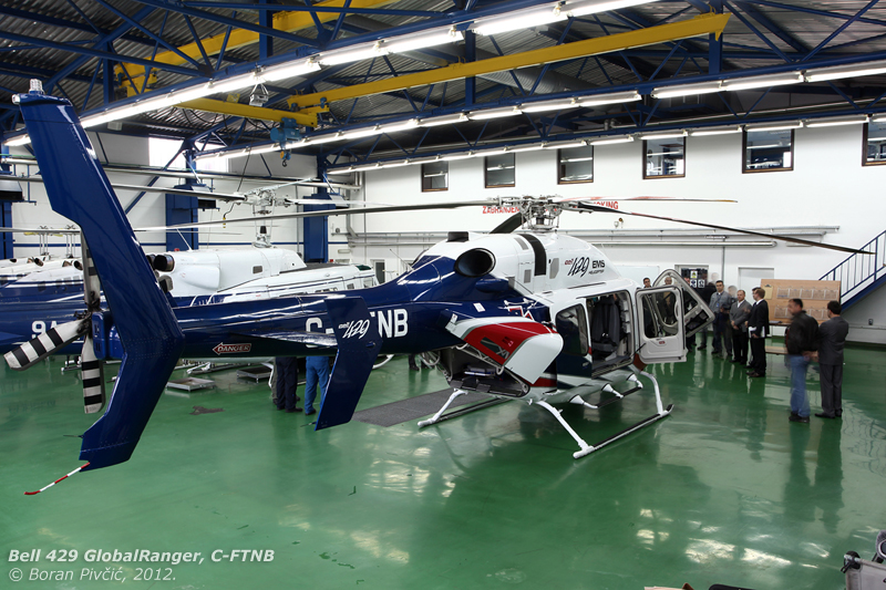 Fully set up for display in the warm and dry police hangar. Note also the rear clamshell doors, as mentioned a first for a Bell design. Unlike the ones found on Eurocopters, the 429's open flush with the fuselage, making moving around the tail much easier and safer
