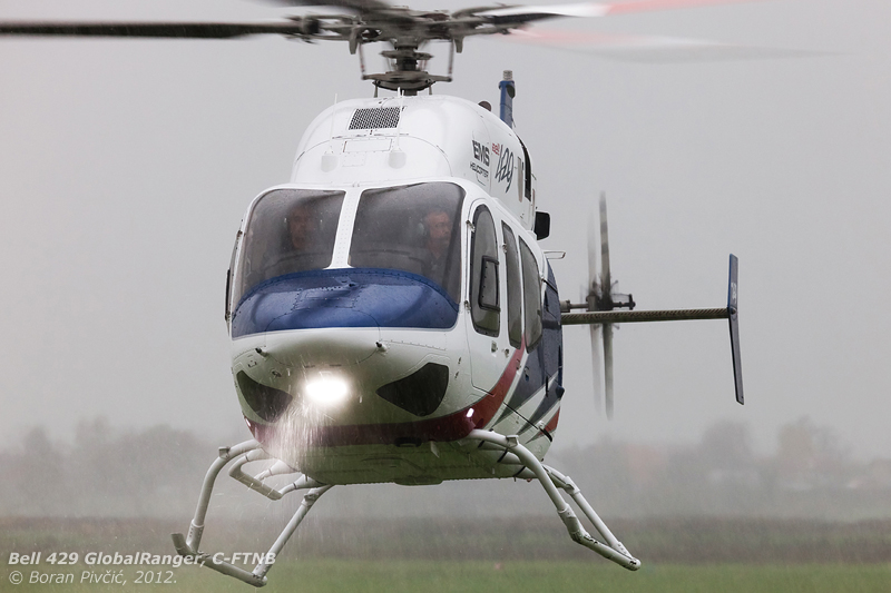 Neither rain, nor wind, nor low cloudbase... with conditions typical of those frequently endured by HEMS machines, the crew of C-FTNB was more than happy to show off the 429s capabilities in marginal weather.