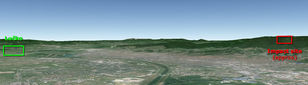 A 3D perspective from the approximate altitude of impact (800 m/2,600 ft above sea level). This view more-or-less also coincides with the likely direction of ABC's approach to the city