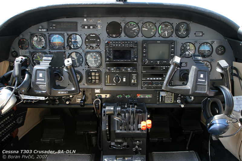 One of the better-equipped twins in Croatia, DLN had sported a complete IFR navigation set, including a Garmin GNS 430 IFR GPS unit.