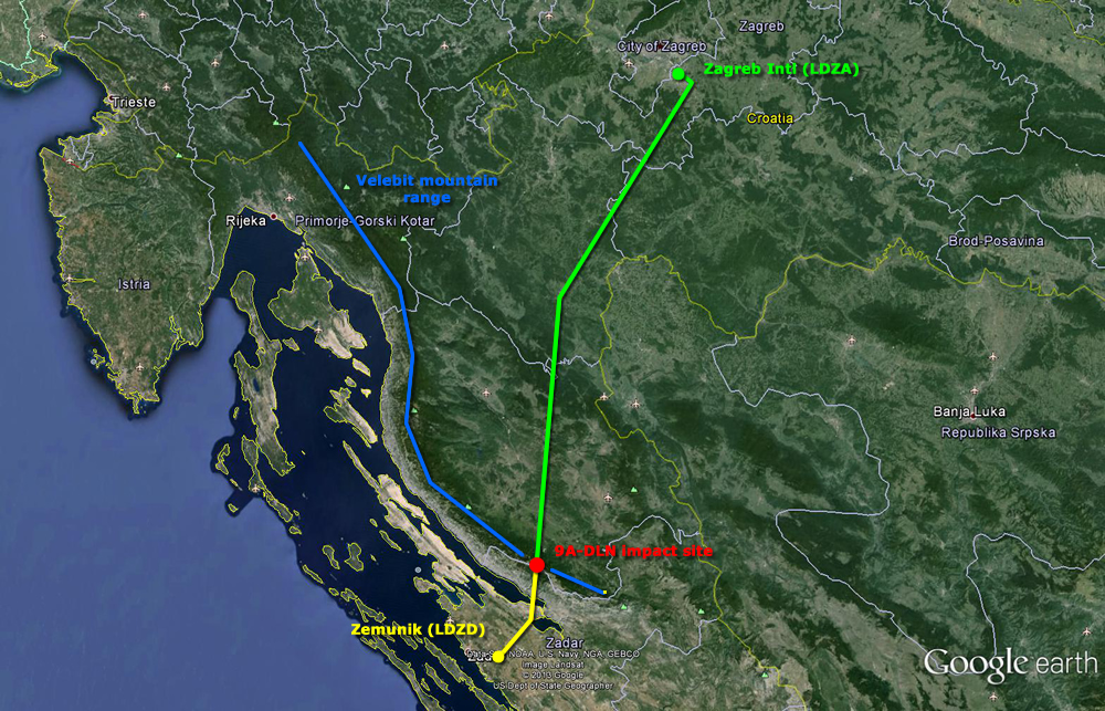 9A-DLN's actual (green) and planned remainder (yellow) of the route.