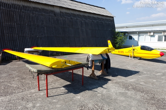 "A glider you really can't loose in a crowd! Despite its staggering similarity to the Polish-built PZL-Bielsko SZD-24 Foka - one of the world's most beautiful wooden gliders - the Delfin (""Dolphin"") was actually designed and produced by the Vazduhoplovni tehnički centar (""Aircraft Technical Center"") at Vršac in Serbia, well known locally for both its own and license-produced high performance gliders."