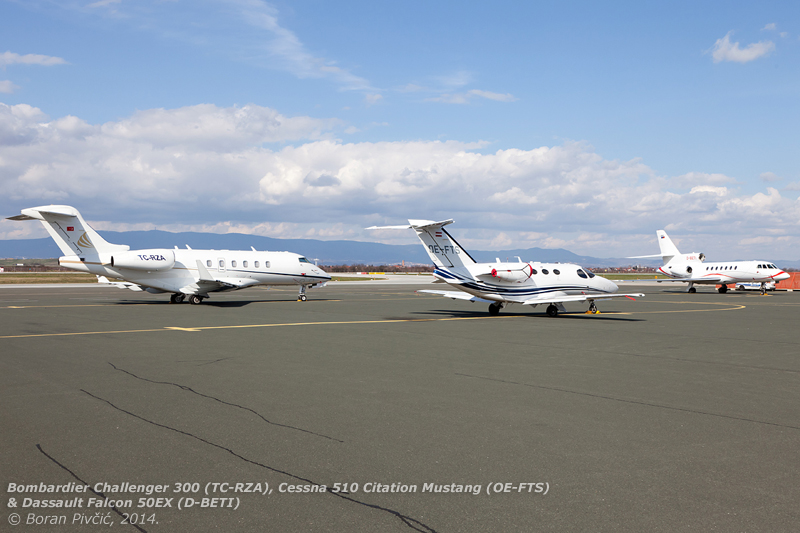 A selection for all tastes (and wallet sizes): the modern Challenger 300 for medium ranges, the classic and elegant Falcon 50EX for transoceanic flights - and the small and cheap Citation Mustang for popping into another country for a coffee