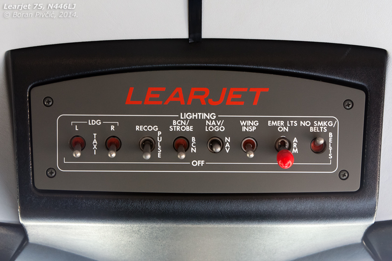 One of the reasons for the cockpit's cleanliness lies in the relocation of the light switches to the overhead console - the first such panel ever fitted to a Learjet.