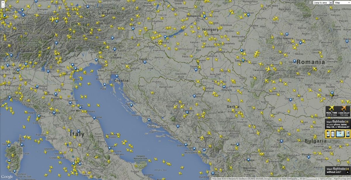 By the time all flights had left Croatian airspace or diverted to nearby airports, w