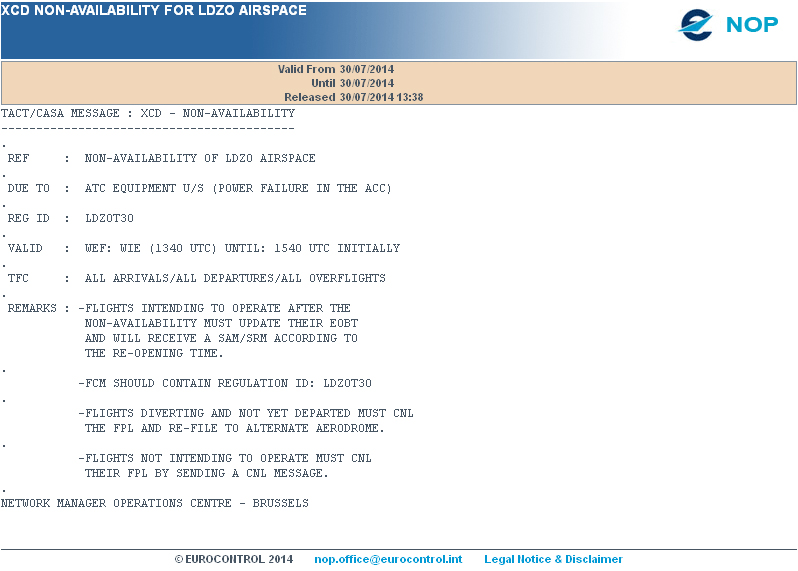 """The first of Eurocontrol's """"non-availability"""" messages for Zagreb FIR (LDZO)."""