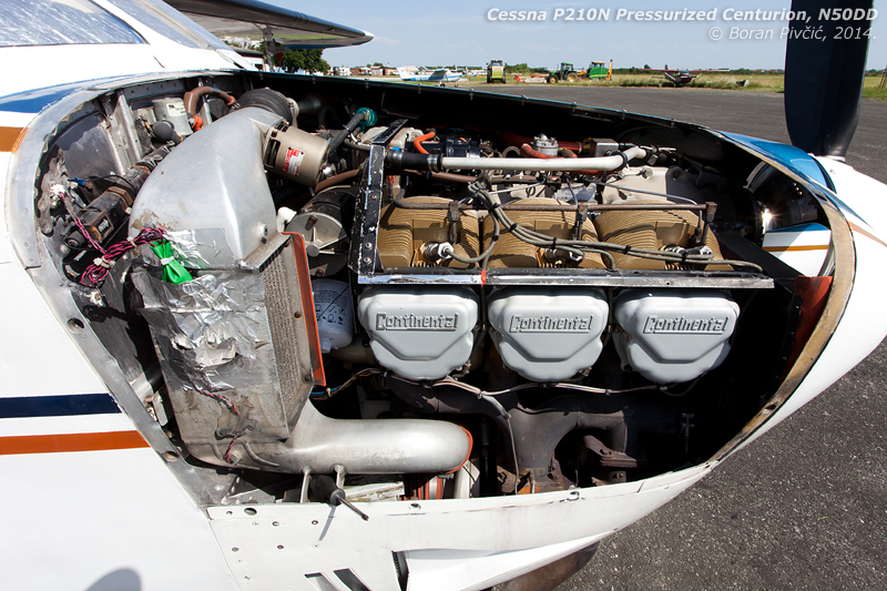 "The mighty heart of Cessna's most sophisticated and capable single-engine model. It's full name dragging out to ""Continental TSIO-540-AF"", this engine is equipped with a turbocharger (TS - turbosupercharged) and direct injection (I - injection), while its six cylinders are arranged in a boxer pattern (O - opposed) and together give a cubic capacity of 540 cubic inches (8.8 liters). In this sub-version (AF) it produces 310 HP, while the design itself is capable of putting out anything between 260 and 375 HP."