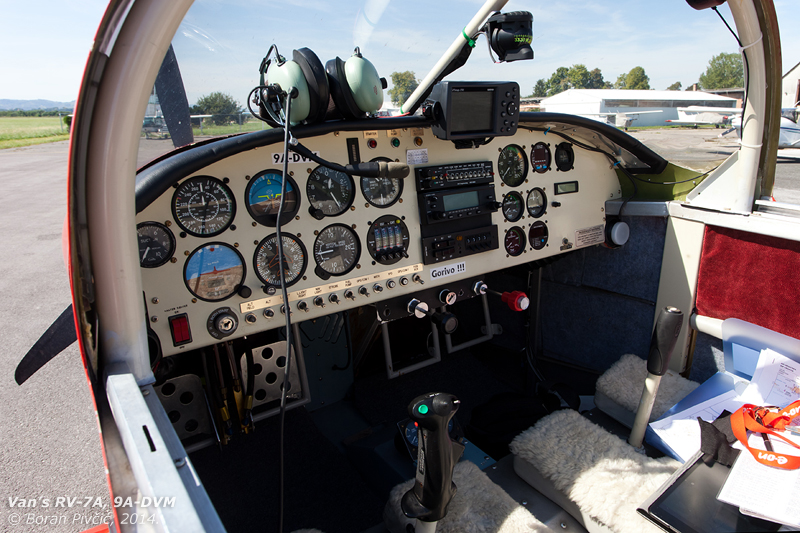 The simple and uncluttered cockpit contains everything one needs for a good time in the air . Interestingly, even though it is powered by a four cylinder engine developing 200 HP, DVM uses a fixed pitch propeller - generally not seen on engines of this power