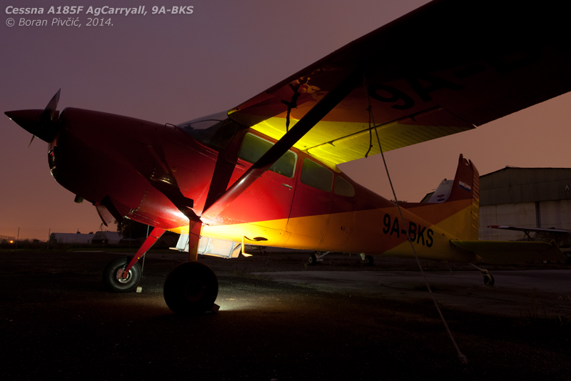 Back home after an extended leave of absence due to a Cessna-mandated corrosion check, the legend of Lučko is back on the flying circuit. Parked - unusually - outside the hangar following its return from Varaždin (LDVA), BKS easily dominates the apron even in the dark...