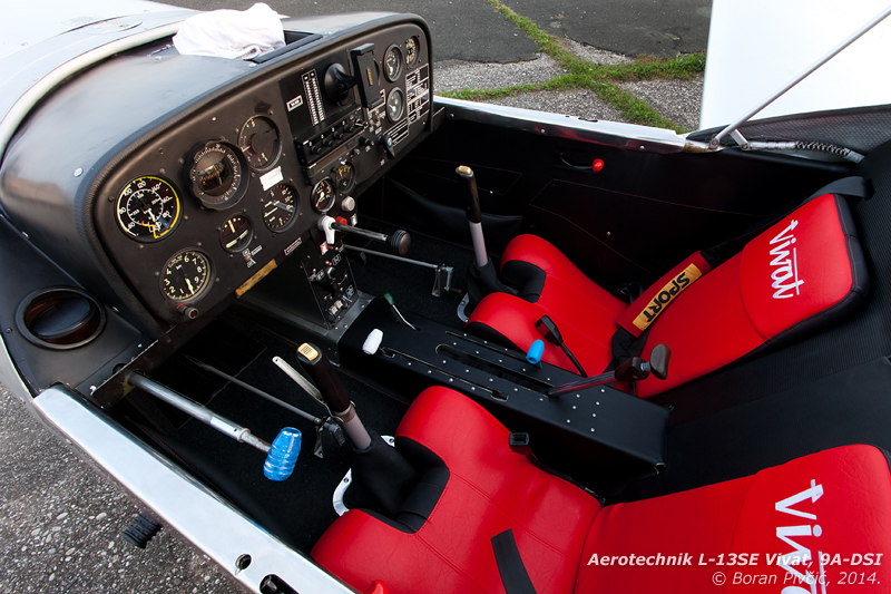 A peek inside DSI's clean and pleasant interior. Somewhat more complicated than a modern purpose-built TMG, the L-13SE contains almost as many controls as a standard light piston aircraft, including levers for the throttle, choke, elevator trim, airbrakes, wing flaps, cowl flaps and landing gear.