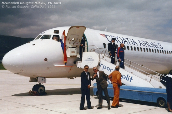 YU-ANO basking in the sun at Split after its inaugural flight from Zagreb - the first ever scheduled passenger flight flown by Croatia Airlines.