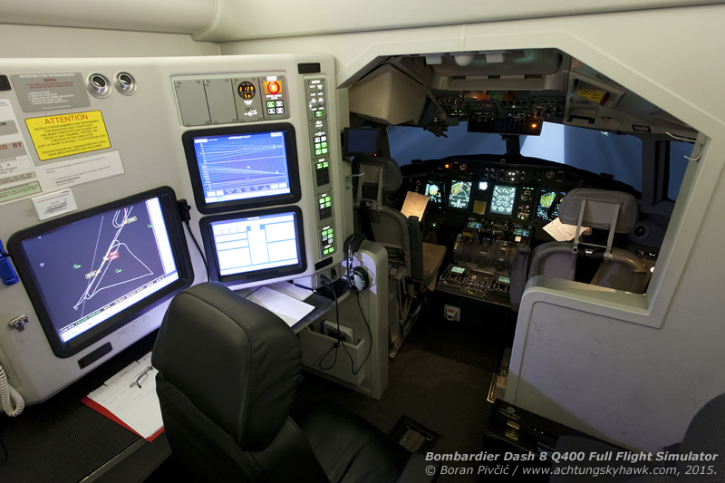 A look at what hides inside the white cube of the Full Flight Simulator. Pretty spacious and comfortable (often more so than the actual aircraft!), higher-grade FFSs contain an inch-perfect replica of the real cockpit, complete with fully-simulated systems - as well as a control panel for the instructor, which allows control over all aspects of the simulation.