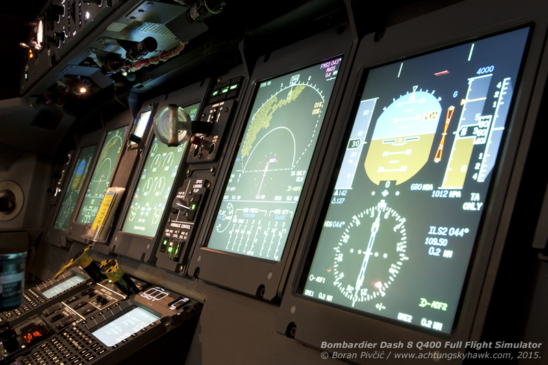 Having a bit of creative fun between two training sessions. Since Bombardier offers several avionics options for the Dash 8 - including one or two FMS units, different flight director visual styles and imperial or metric weight measurements - the FFS can also be configured to simulate all possible setups, which are then tailored to the needs of specific operators using the sim.