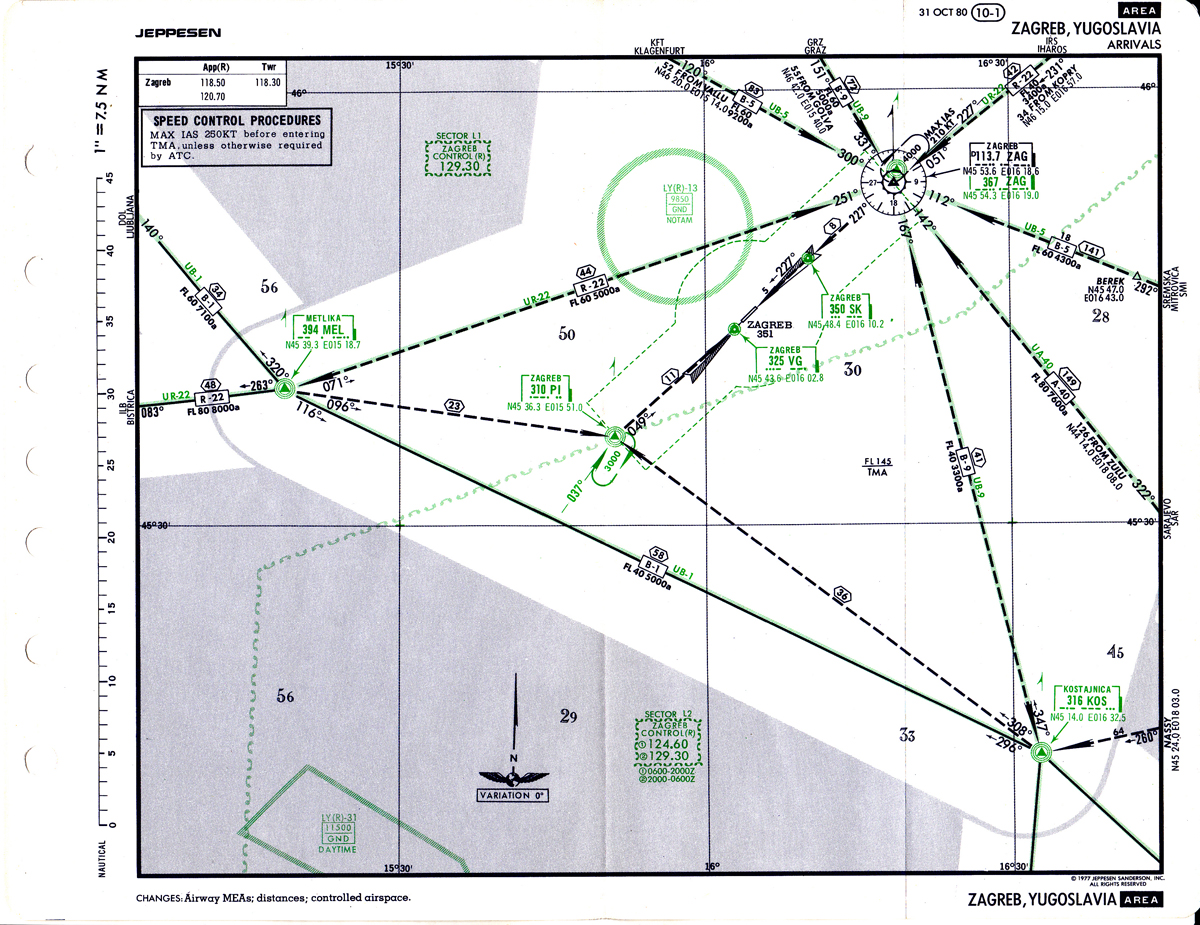A glimpse into times where reliable area navigation was still years in the future and waypoints were few and far in between, the STAR Chart makes for fascinating viewing. Far, far more complex in modern times (featuring several times as many arrival routes), the chart also shows another anachronism: the KOS NDB in the lower right corner, dismantled and shut down at the beginning of the 90s during the civil war.