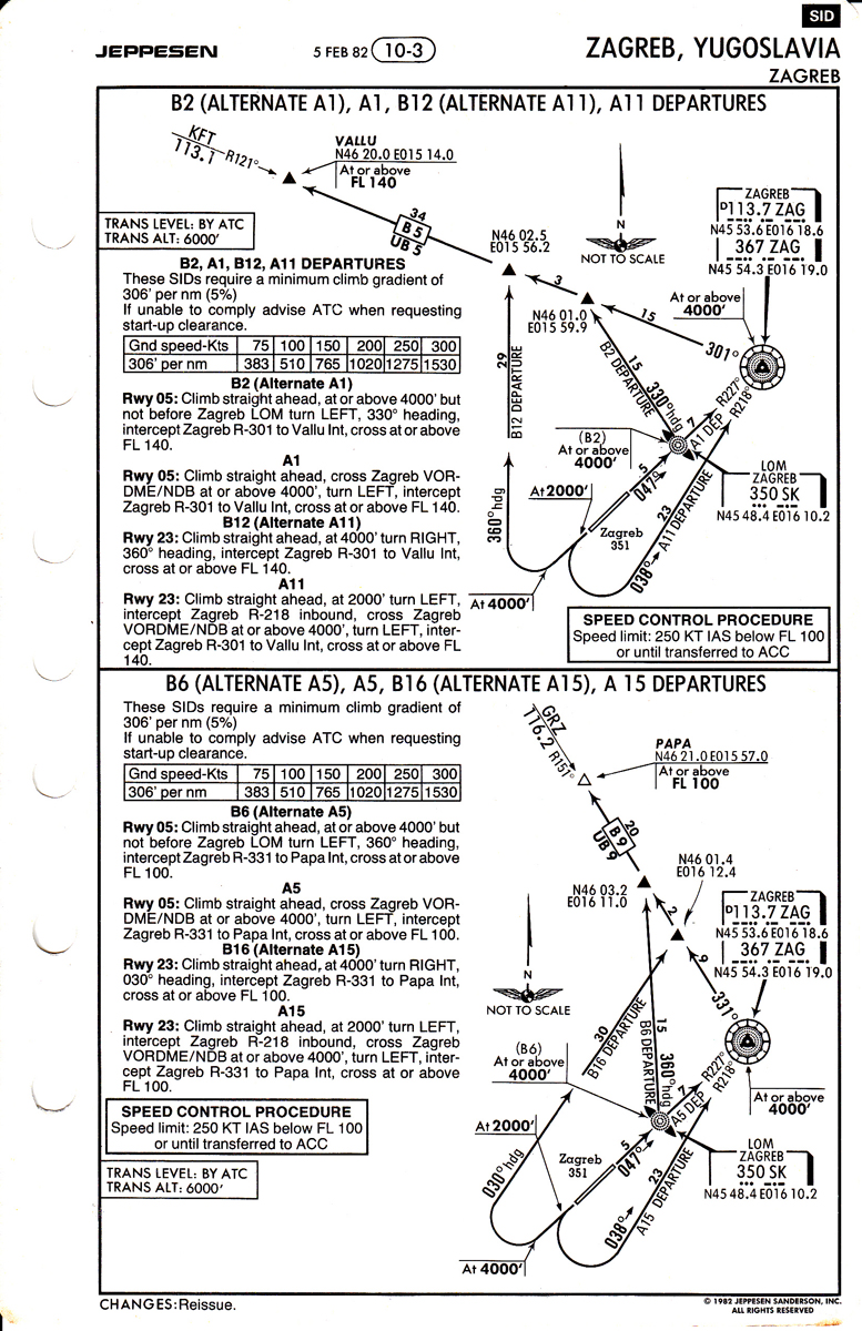 """The first of the SID charts illustrates a fascinating mix of old fashion NDB navigation and """"newfangled"""" waypoints. VALLU (in the top procedure) still exists, while PAPA (in the lower procedure) would later become MACEL. The latter was actually located a few miles inside Slovenia (even though it was a border point), which would in the early 2000s lead to its replacement by point PODET located right on the border."""