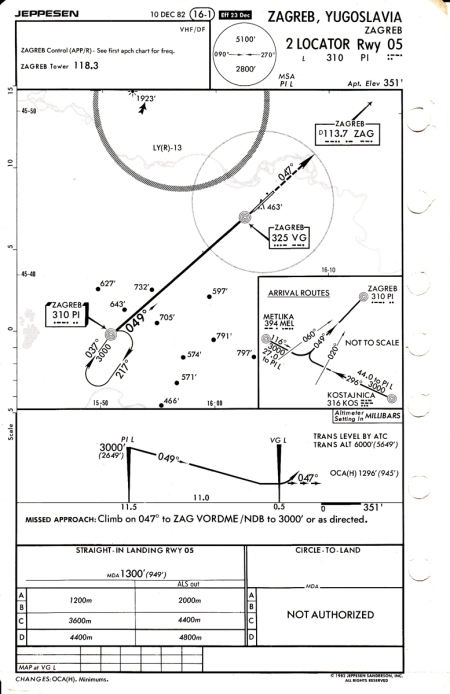 The ninth and final chart in the set (quite a bit less than the modern 15!). Even though PI has been upgraded, the locator approach still exists - with two having also been added for the RWY 23 end.