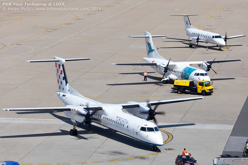 Pick your turboprop! From the big and fast to the small and slow, we have it all! Representing 75% of the companies engaged in commercial passenger transport in Croatia, this lineup consists of Dash 8 Q400 9A-CQB (flown by Croatia Airlines), ATR-42-300 OY-CHT (owned by Fly Denim, but operated on behalf of Air Croatia) and Embraer EMB-120 HA-FAL (flown for local carrier Trade Air).