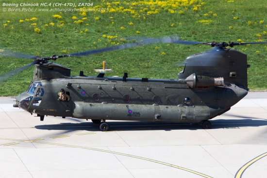 "Another very interesting visitor caught taxiing towards RWY 05 for departure to Munich under callsign ""RAFAIR 7160"". While not the first Chinook to visit Zagreb, ZA704 is definitely one of the more interesting ones, being in fact a ""composite"" airframe sporting the rear rotor boom of CH-47D ZH257. The latter is a nugget as well, having originally flown with the Argentinian military as AE-520 - and captured by the British on the Falklands in 1982. Going on to serve as an instructional airframe, it would donate its behind to ZA704 following the latter's tail rotor strike in Oman in 1999."