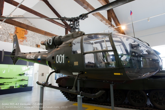 The instantly recognizable shape of the Gazelle sticks out with ease even in a room full of armored vehicles! An intriguing exhibit, this part of the Park is devoted to the beginnings of the Slovenian military in 1991, and shows well the mismatch in ground and air equipment that had been prevalent in Croatia as well...